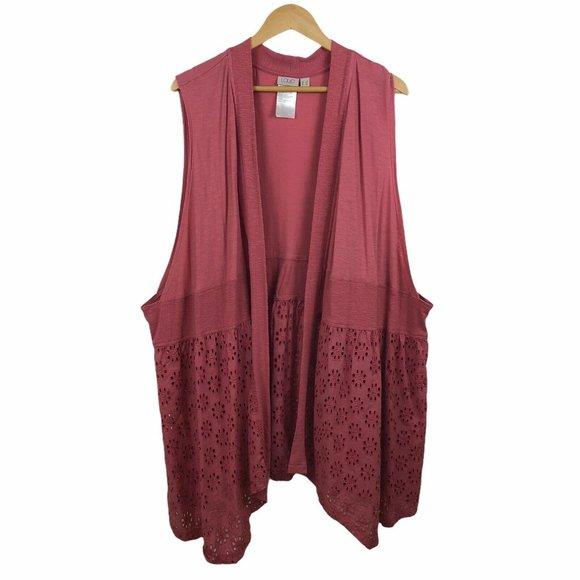 LOGO Lori Goldstein Flowy Open Cardigan Vest